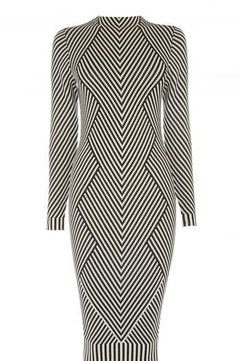 Karen Millen Striped Knitted Pencil Dress BlackWhite 220x330 The best black and white dresses for any occasion