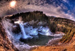 Водопад, камни, небо, деревья, hdr
