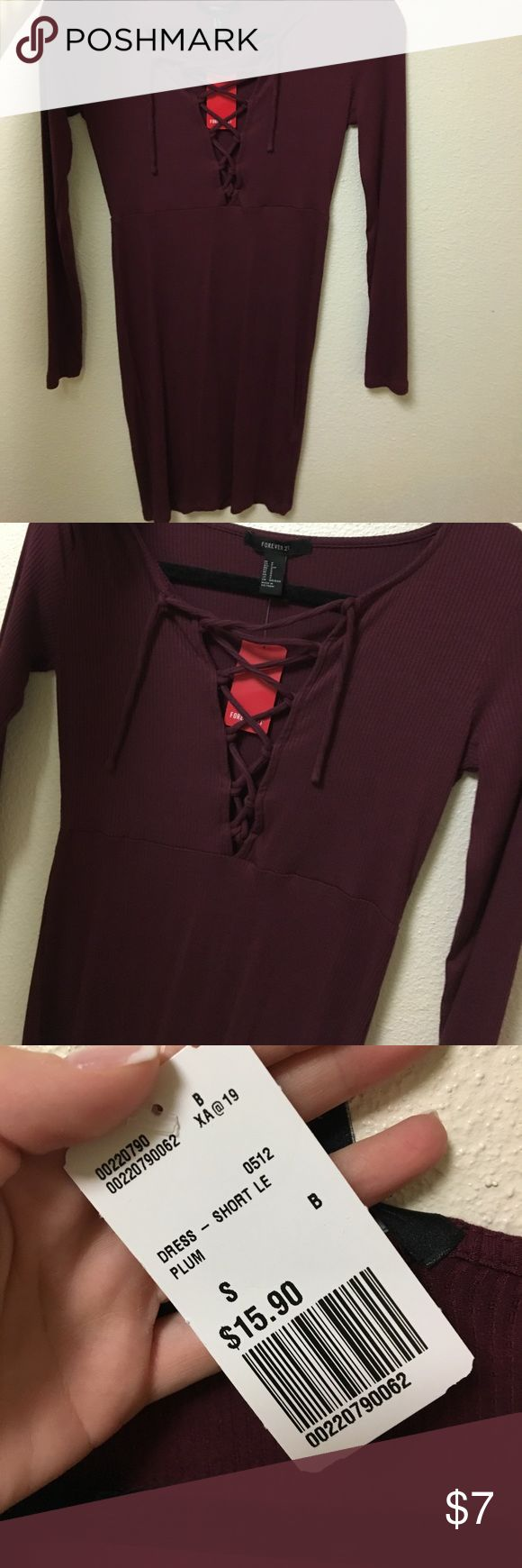 NWT Red lace up dress Never been worn cute wine colored dress! Forever 21 Dresses Long Sleeve