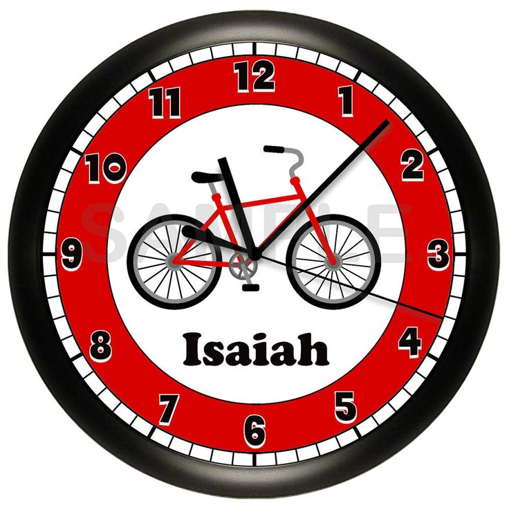 BICYCLE CLOCK WALL PERSONALIZED BIKE CYCLIST SPORT GIFT RED 10 INCH