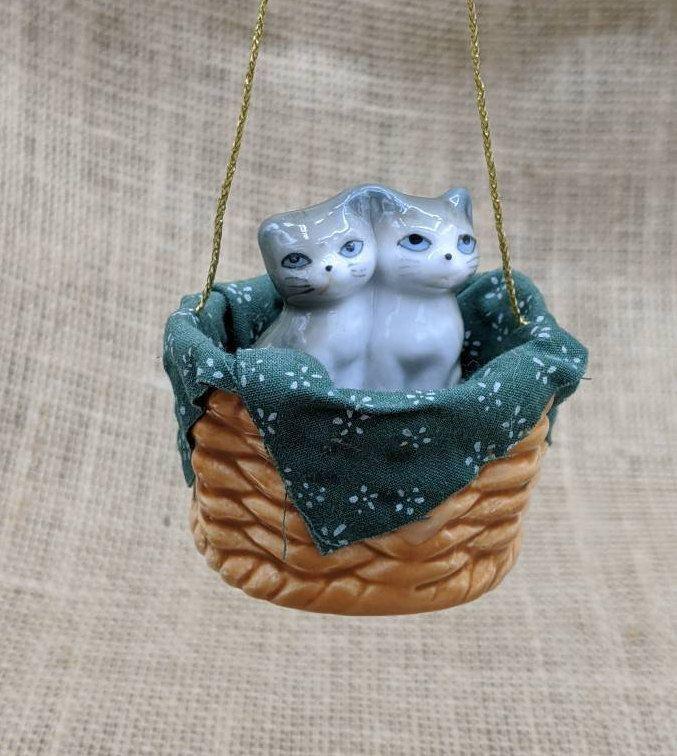 Ceramic Kitten in Basket