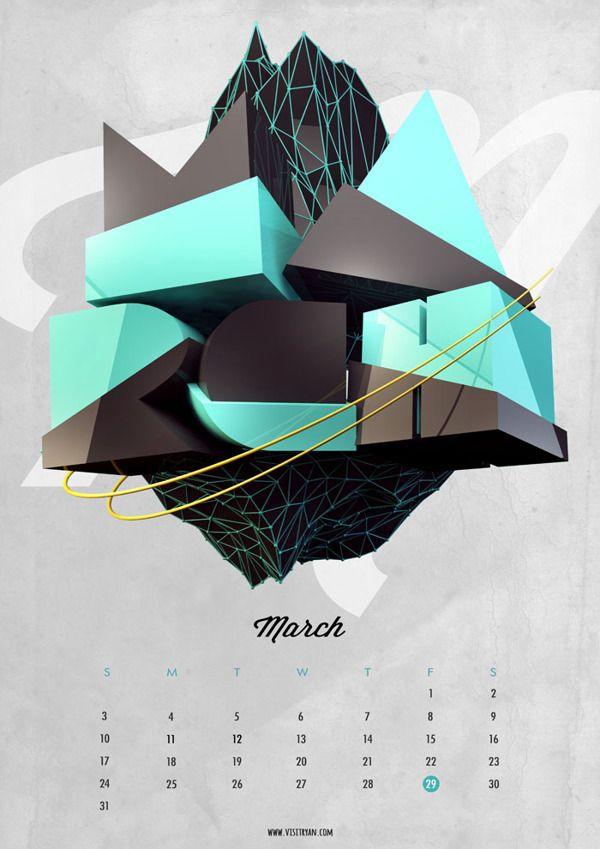 Type Calendar | 2013 by Ryan Ho, via Behance
