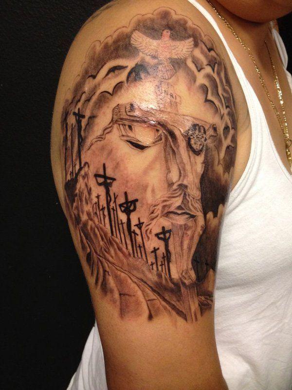 20 holy jesus tattoos jesus face jesus tattoo and art. Black Bedroom Furniture Sets. Home Design Ideas