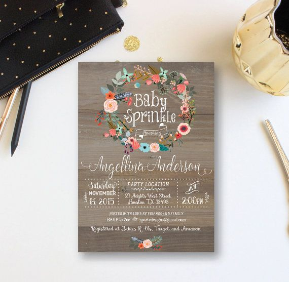Baby Sprinkle  Invitation, Vintage Wood Baby Shower Invitation, Floral wreath Invite, Baby Girl Winter Invitation, Free Back, Custom WR