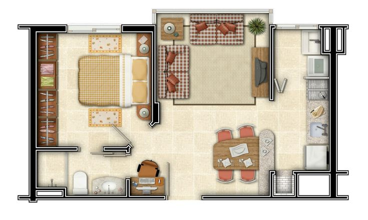 Apartamento de 1 quarto