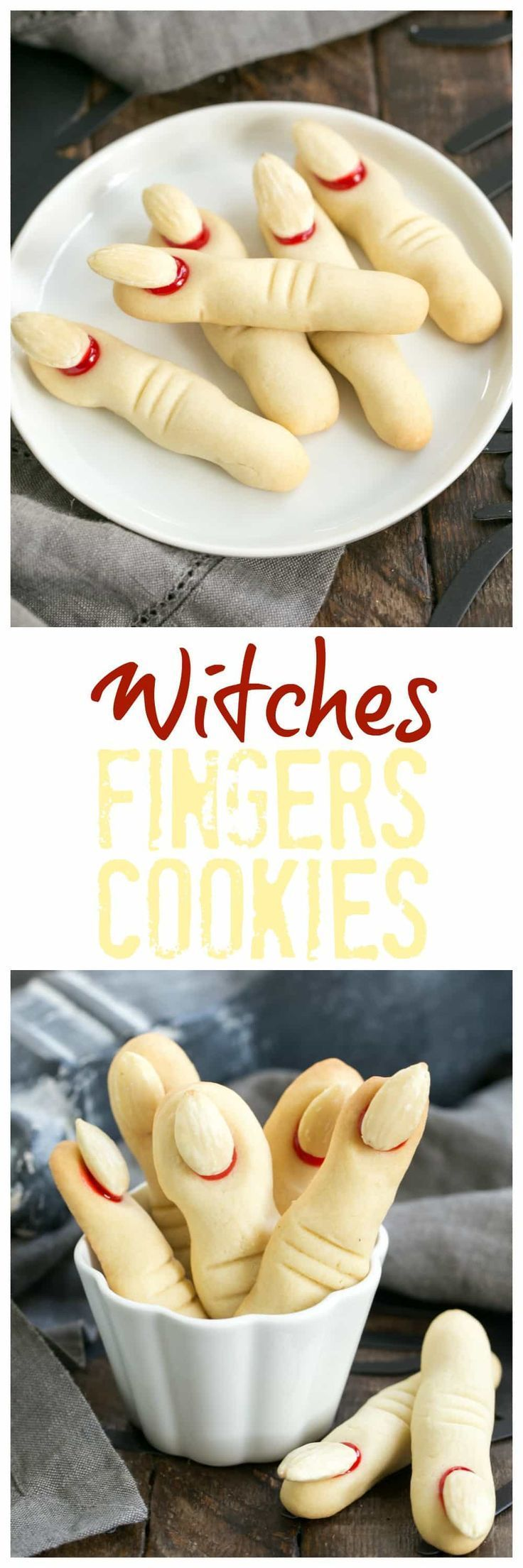Witches Fingers Cookies | A simple recipe to transform sugar cookie dough into gnarly fingers for Halloween! #halloween #cookies
