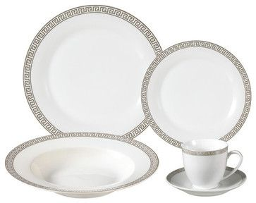 Porcelain Dinnerware Set, 24 Piece Service for 4 by Lorren Home Trends traditional-dinnerware-sets