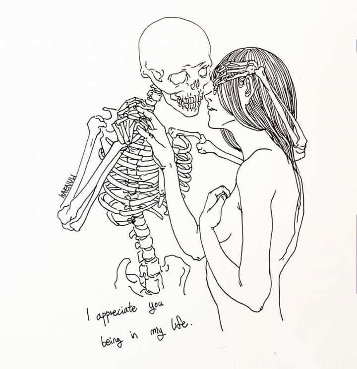 Art By Haenuli Shin Love It With Images Skeleton Drawings