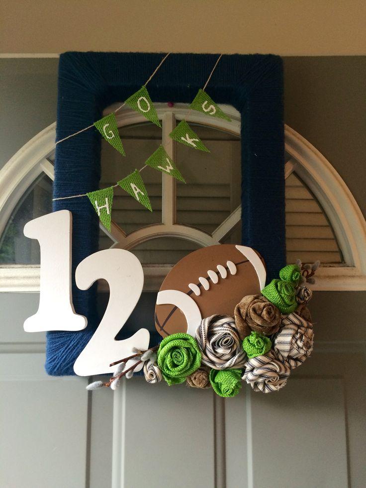 Yarn Seahawks wreath