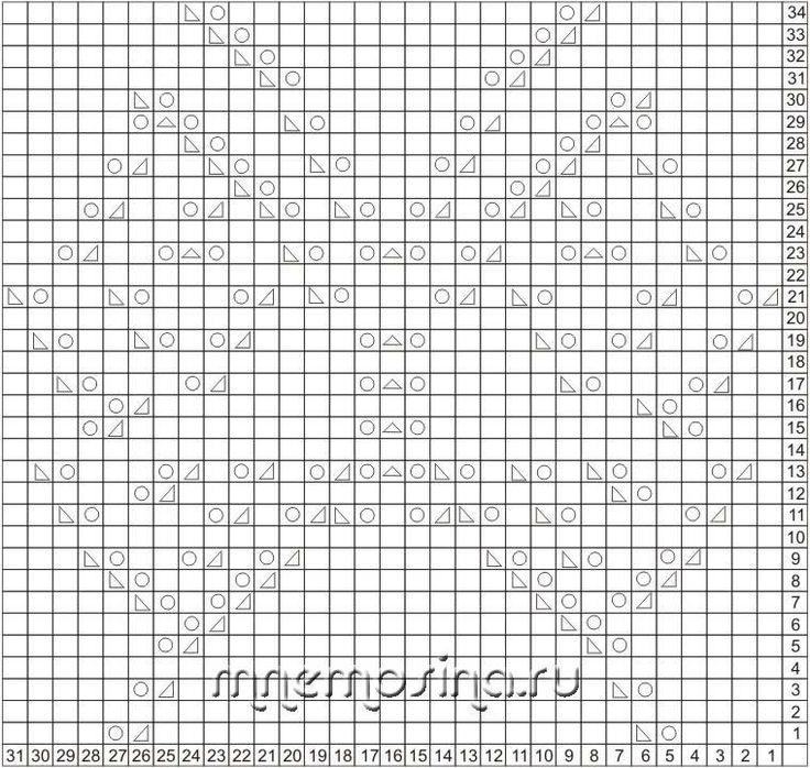 Схема для вязания. Ажурный узор Бабочка