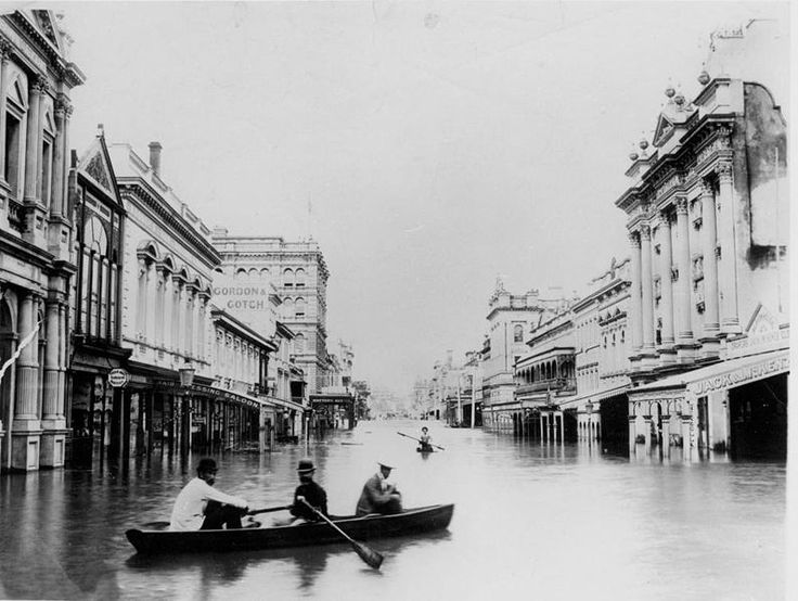Queen Street, Brisbane flooded in February 1893