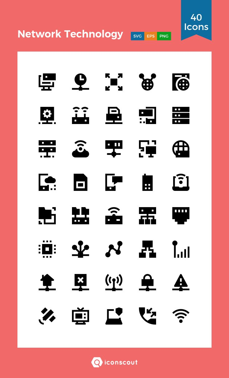 Network Technology  Icon Pack – 40 Solid Icons