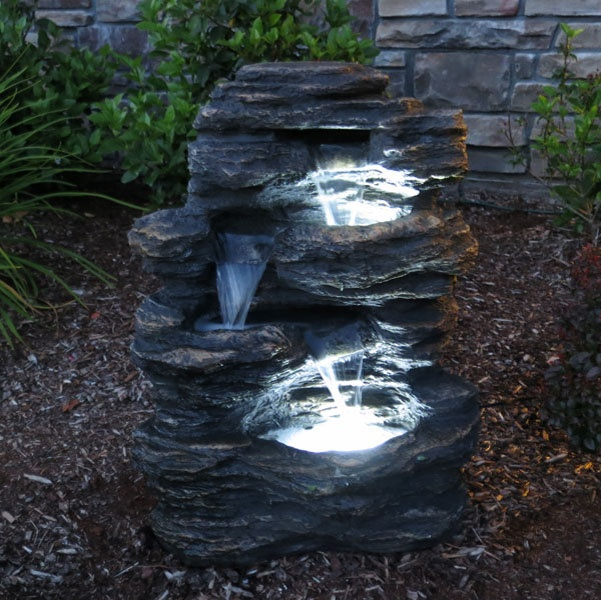 Sunnydaze Rock Falls Outdoor Waterfall Fountain With LED Lights, 24 Inch  Tall