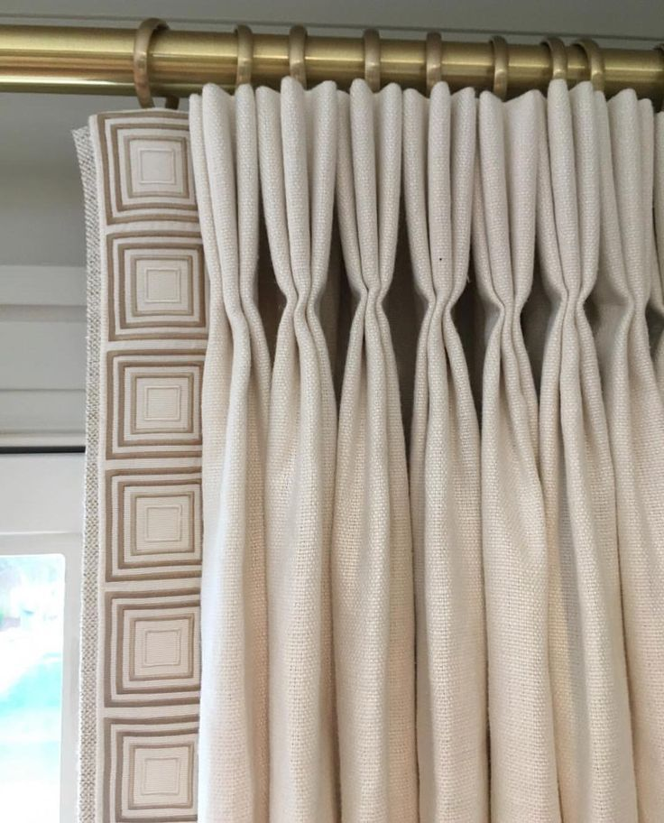 Ivory Triple Pleat Drapes Curtains With The Leading Edge Trimmed