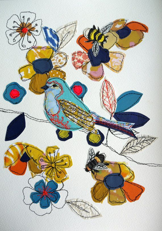 Birds & Bees stitched original art by AmandaWoodDesigns on Etsy, £42.00