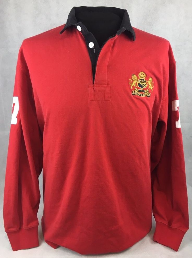 Polo Ralph Lauren Mens Large 1967-1997 Embroidered Red Long Sleeve Rugby Polo #PoloRalphLauren #PoloRugby