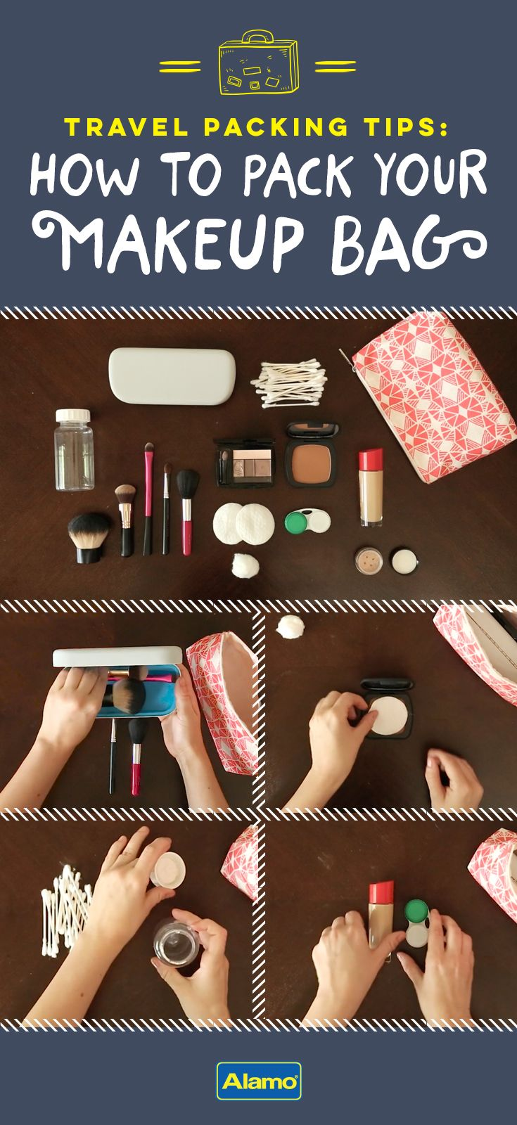 Protect your compacts, prevent spills and save space in your makeup bag with these clever packing hacks to help you arrive beautifully.