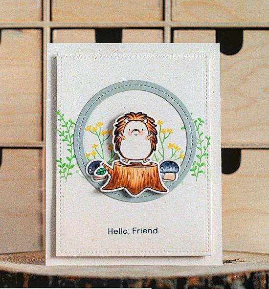 Beautiful Blooms stamp set, Birdie Brown Happy Hedgehogs stamp set and Die-namics, and  Single Stitch Line Circle Frames Die-namics - Anna Ignatenko #mftstamps