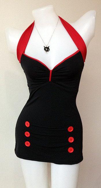 Vtg Bettie Women Swimsuit in Black Polka Vintage Sailor Women 1950s Swimwear One Piece New