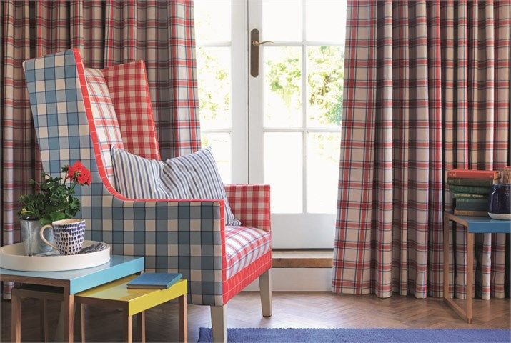 Sanderson Bramley checks and stripes for both curtains and upholstery.