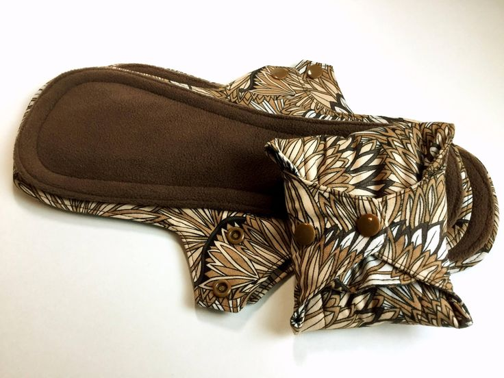 Reusable 11 inch Moderate Day Leak Resistant Sanitary Napkin, Cloth Menstrual Pad in Caramel & Chocolate Floral, Incontinence Cloth Pad by AHippieAdventure on Etsy