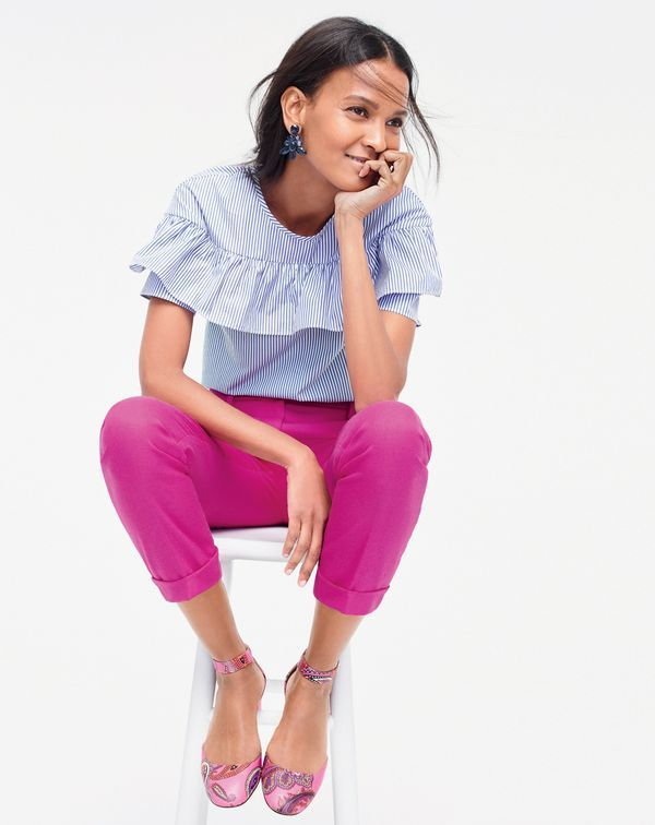 J.Crew women's short-sleeve ruffle top in shirting stripe, Rhodes pant, oversized crystal earrings and paisley printed leather heels.