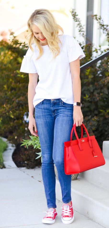 summer outfits White Tee + Skinny Jeans + Red Leather Tote Bag + Red Converse // Shop this Outfit In The Link