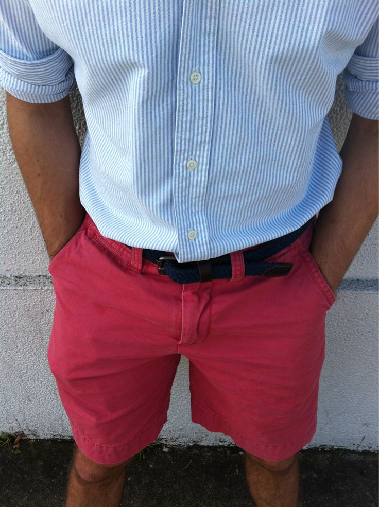 Hmmm....sockless loafers or flip flops?: Pink Shorts, Preppy Style, Summer Style, Guys Style, Colors Shorts, Men Fashion, Summer Outfits, Summer Colors, Red Shorts