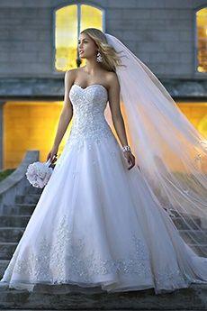 Baile Sem Alça Coração Cauda Corte Organza Vestidos de Noiva