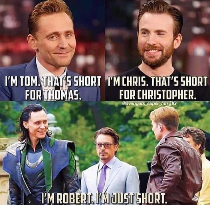 Marvel. Tom Hiddleston. Chris Evans. Robert Downey.
