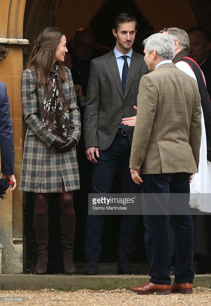 hrhduchesskate:  Christmas Service, St Mark's, Englefield, December 25, 2016-Philippa Middleton and her fiancé James Matthews; the couple will marry at St Mark's on May 20, 2017