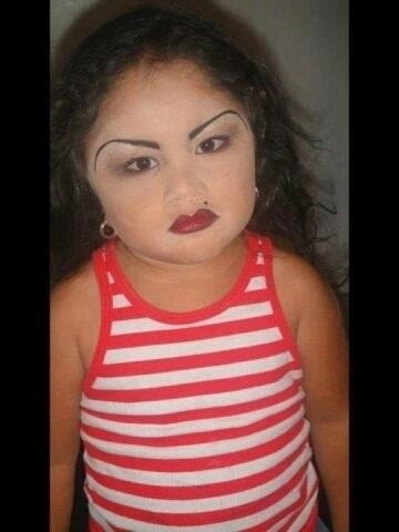 Oh no!! Poor little girl! Who did this to you? Blink twice if your being held against your will!!