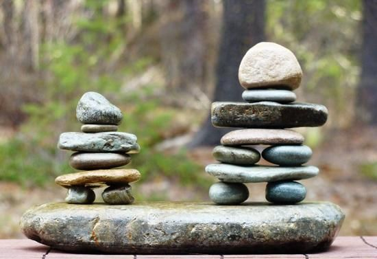Outdoor Party Food Display | miniature inukshuk sculptures for Canada Day table decoration