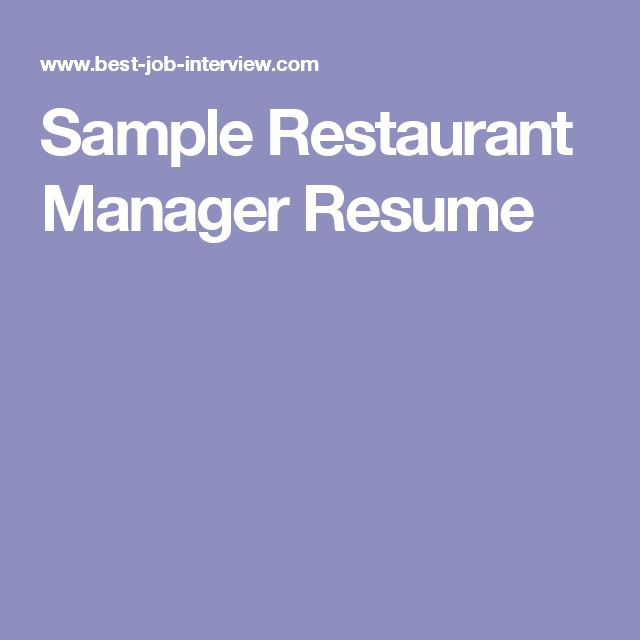 52 best restaurant resume images on Pinterest - examples of restaurant manager resumes