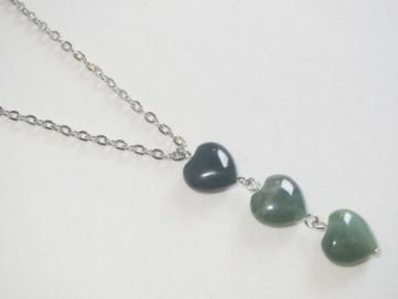 Triple Heart Charm Necklace - Green Fancy Jasper Hearts - Three Connected Hearts - Indian Agate - Ready to Ship N089