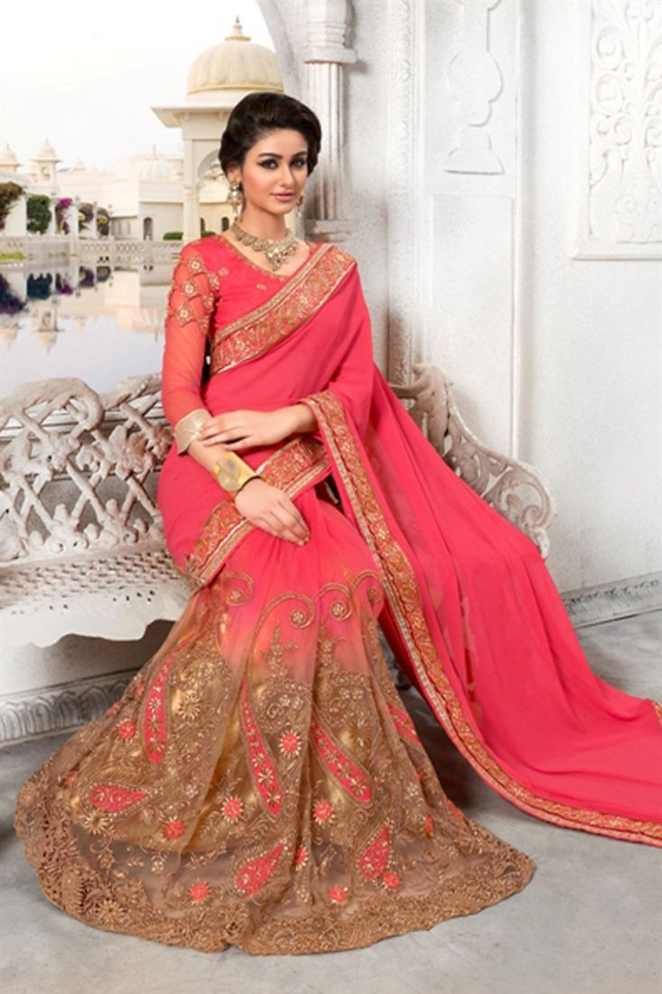 Online Shopping of Pink Color Embroidered Silk And Net Saree from SareesBazaar, leading online ethnic clothing store  offering  latest collection of sarees, salwar suits, lehengas & kurtis