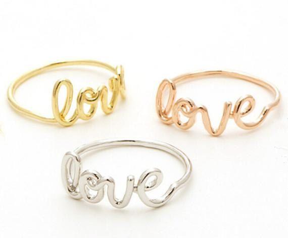 Mimimalistic Love Writing Ring 18k Gold Silver Rose by MinimalMeow