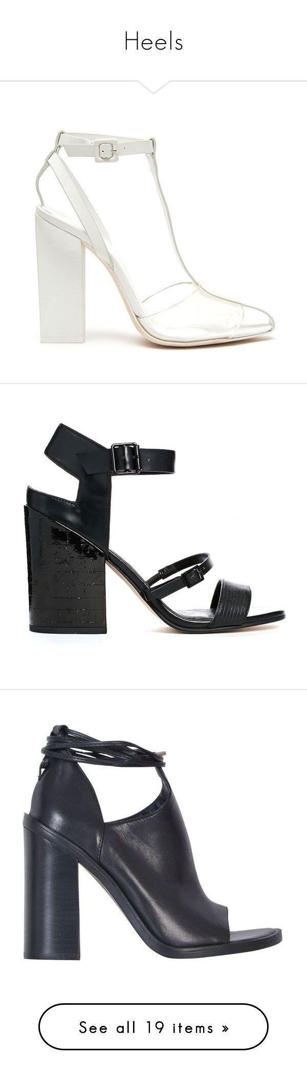 """""""Heels"""" by justonegirlwithdreams ❤ liked on Polyvore featuring shoes, sandals, heels, shoes heels, alexander wang sandals, clear plastic sandals, plastic sandals, high heeled footwear, white high heel sandals and black"""