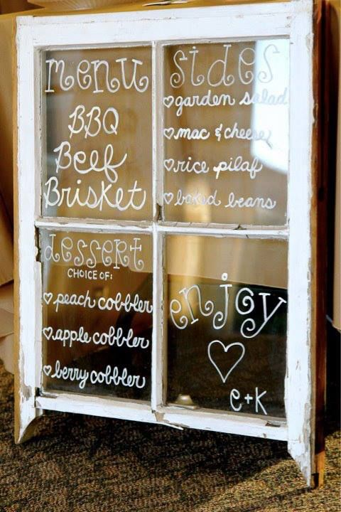 bridal shower. wedding. food menu. menu written on vintage window.  {tpaisleydesign}