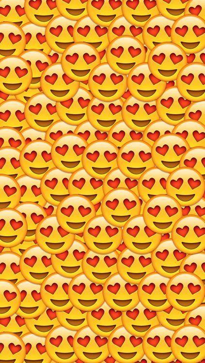 background, cute, emoji, faces, hearts, love, tumblr, wallpaper ...