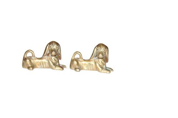 Set of  Brass Dogs, Antique Decor, Laying and Resting Little Dogs on Etsy, $24.93 CAD
