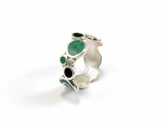 Sterling Silver Ring  Bubbles  Black and green by maldonadojoyas, $46.00