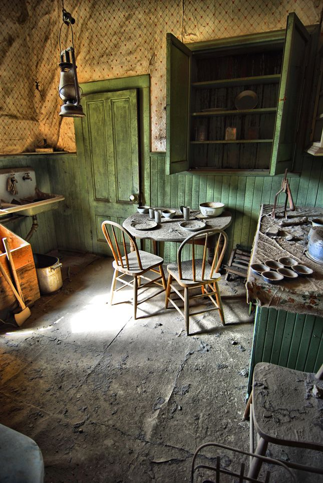 A kitchen in an abandoned home in Bodie, California.    Photo of the Day: June 30, 2012  Cleat Walters III (Charlotte, North Carolina); Photographed June 2012, Bodie, CaliforniaAbandoned Farms House, Gain Muscle, California, Home Photography, Abandoned Homes, Abandoned Kitchens, Kitchens Photos, Abandoned Places, Cleats Walter