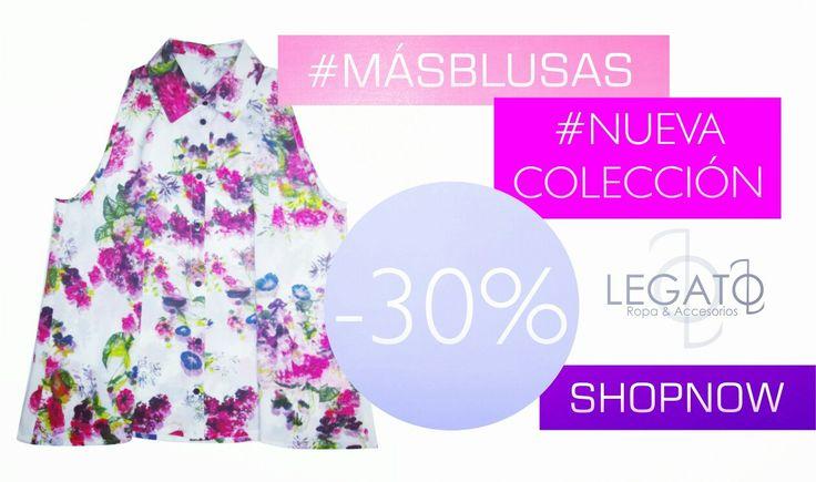30% de descuento en todas nuestras blusas!!!  Aplica para prendas de nueva y antigua colección!  Promo válida hasta el 15 de marzo!! #sale #promociones #newarrivals #newcolection  #woman #legato