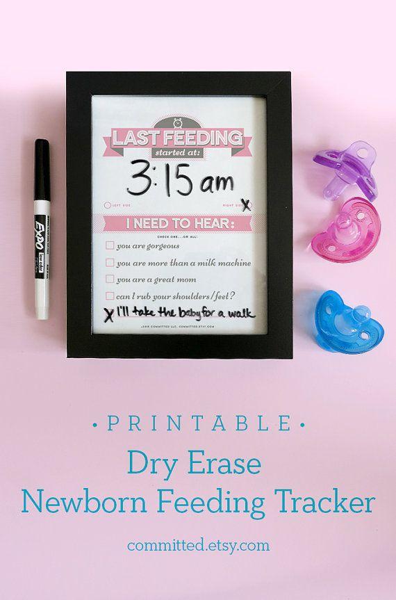 Printable dry erase newborn feeding tracker baby shower gift for new moms!