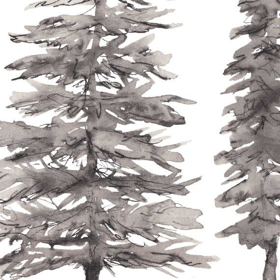 Minimalist Nordic Forest Black And White Pine Tree Ink Etsy White Pine Tree Wall Art Prints Watercolor Art Prints