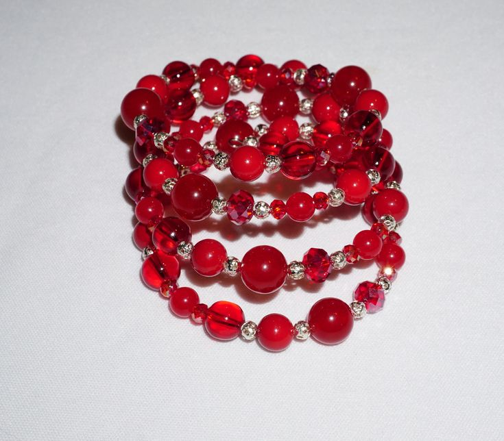 Excited to share the latest addition to my #etsy shop: Red Agate, Red Glass and Crystal, Fun Memory Wire, Stacked Bracelet, One of a Kind, Red Jewelry, Great Gift Idea http://etsy.me/2BQTx57 #jewelry #bracelet #red #silver #yes #no #boho #stackedbracelet #freeshipping