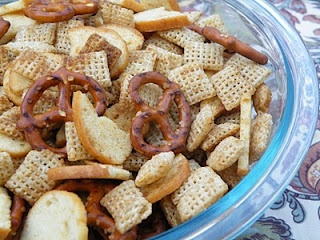 Homemade Chex Mix and Garlic-Buttered Popcorn