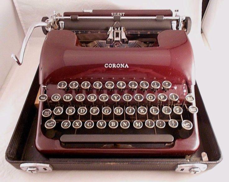 1930s LC Smith Corona Floating Shift Portable Typewriter In Case MAROON - Works #SmithCorona