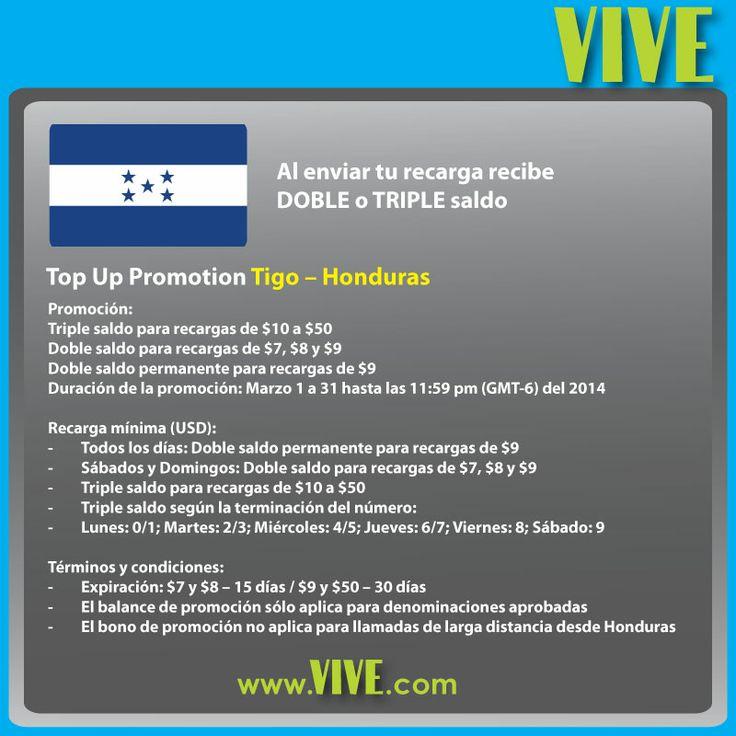 En #marzo, consentimos a los usuarios de #Tigo #Honduras! www.vive.com te ofrece DOBLE y TRIPLE saldo en las #recargas #móviles que envías a #Honduras! Visita www.vive.com para tener más detalles y aprovechar nuestras promociones diarias!